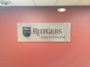 Rutgers University Lettering on Glass